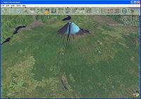 上空から地上を斜めに見下ろした立体的な表示も楽しめる