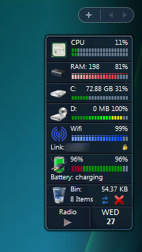 窓の杜 - 【REVIEW】CPU・メモリ使用率やドライブ容量をサイド ...