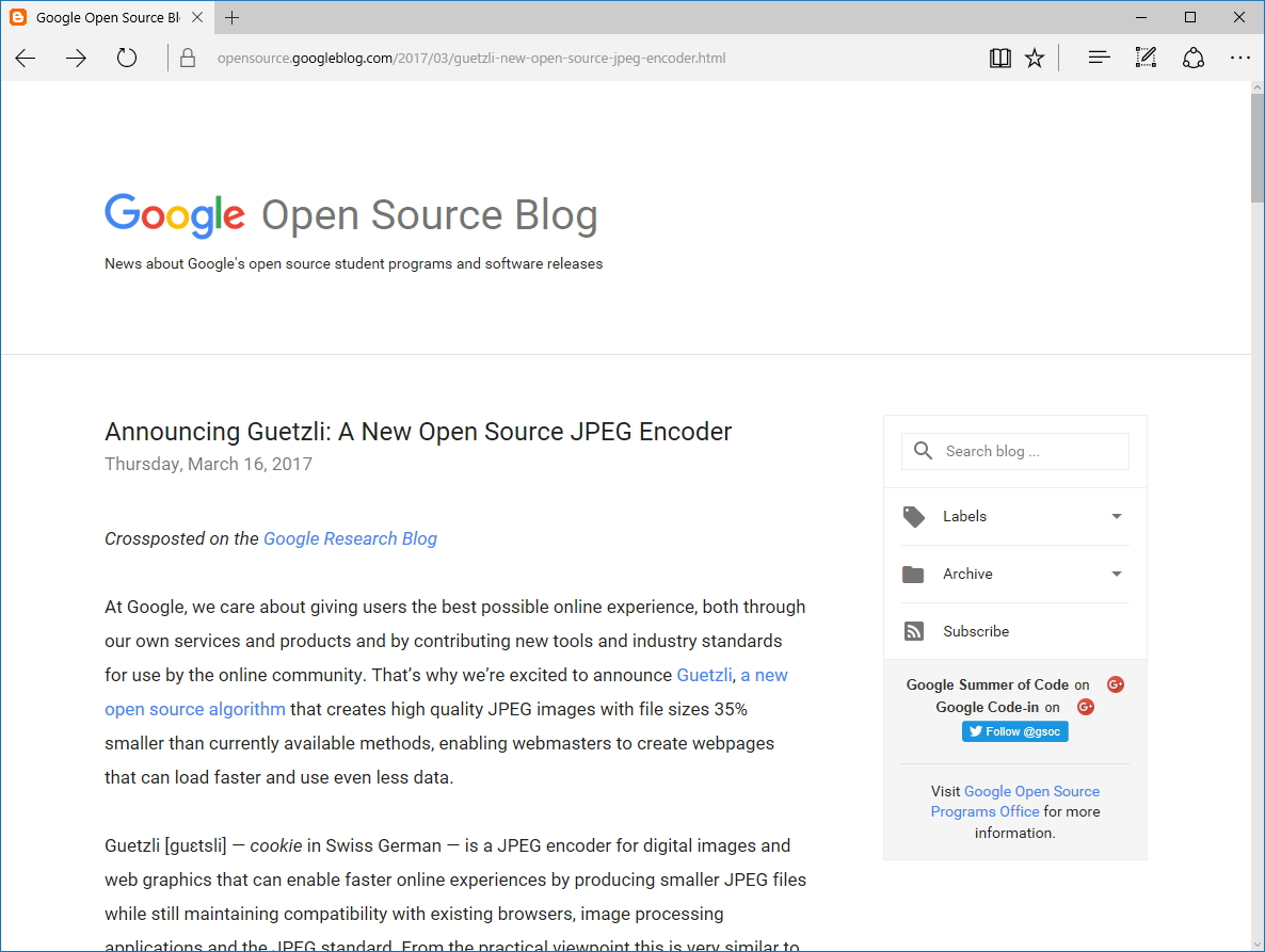 "公式ブログ""Google Open Source Blog"""