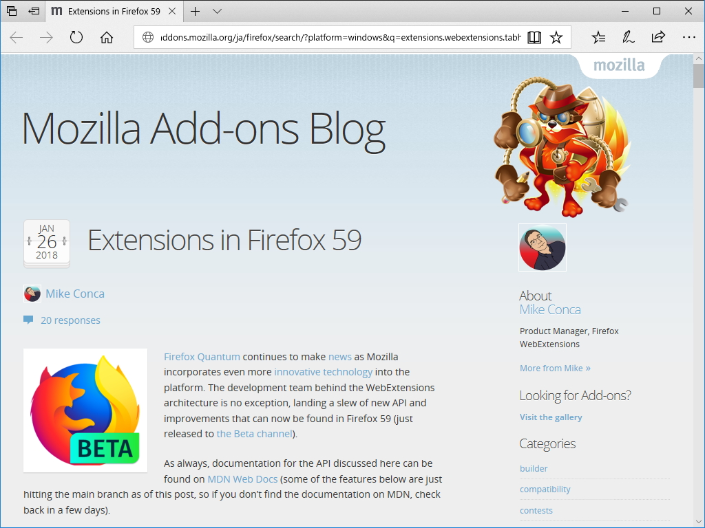 "公式ブログ""Mozilla Add-ons Blog"""