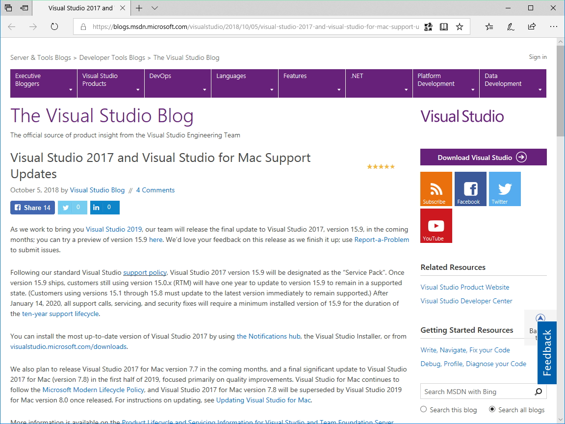"公式ブログ""The Visual Studio Blog"""