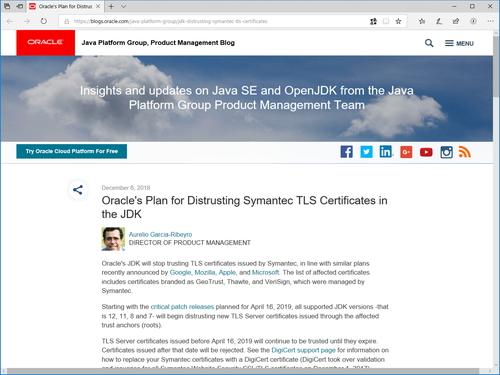 Oracle、「JDK」でSymantec発行のTLS証明書を無効に ~来年4月のパッチ