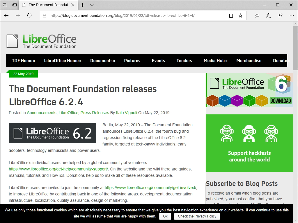 The Document Foundation、「LibreOffice 6.2.4」を公開
