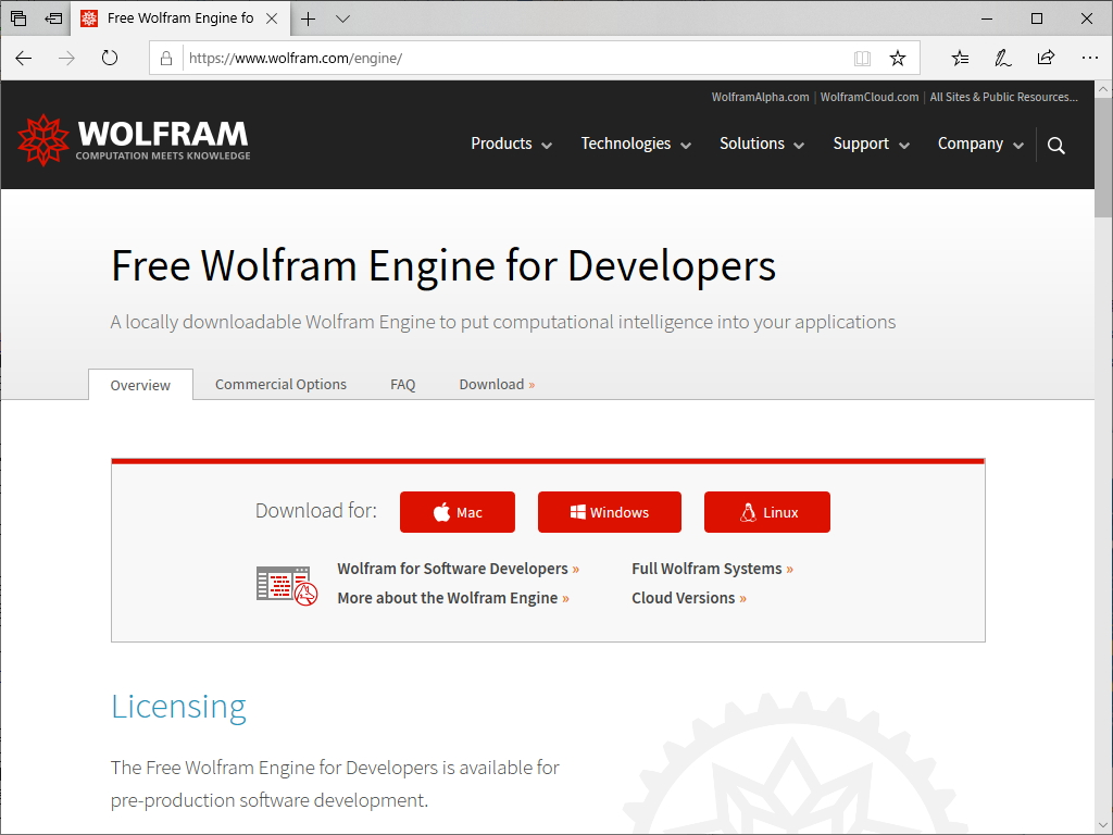 """Free Wolfram Engine for Developers"""