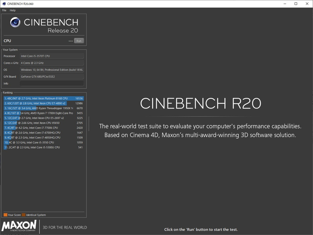 「Cinebench Release 20」