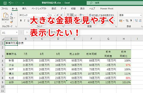 エクセル 千円単位