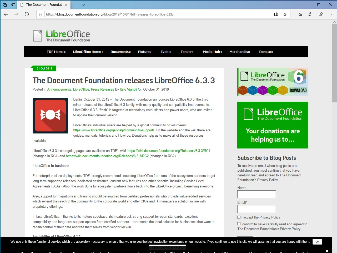The Document Foundation、「LibreOffice 6.3.3」を公開
