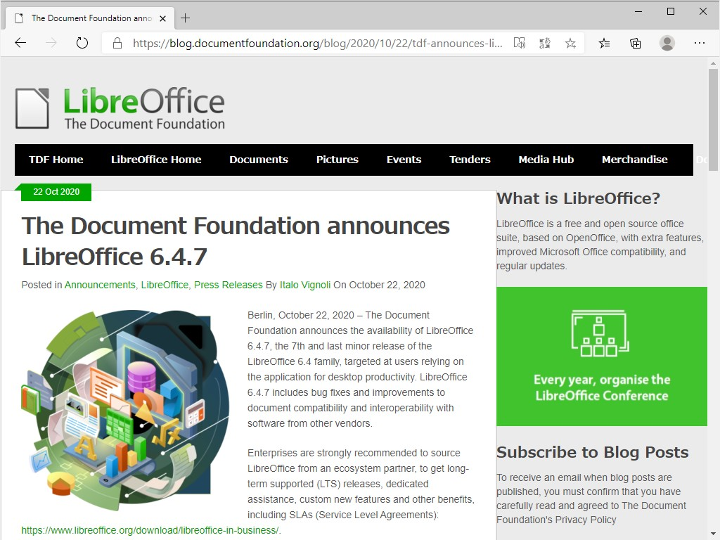 The Document Foundation、「LibreOffice 6.4.7」を公開