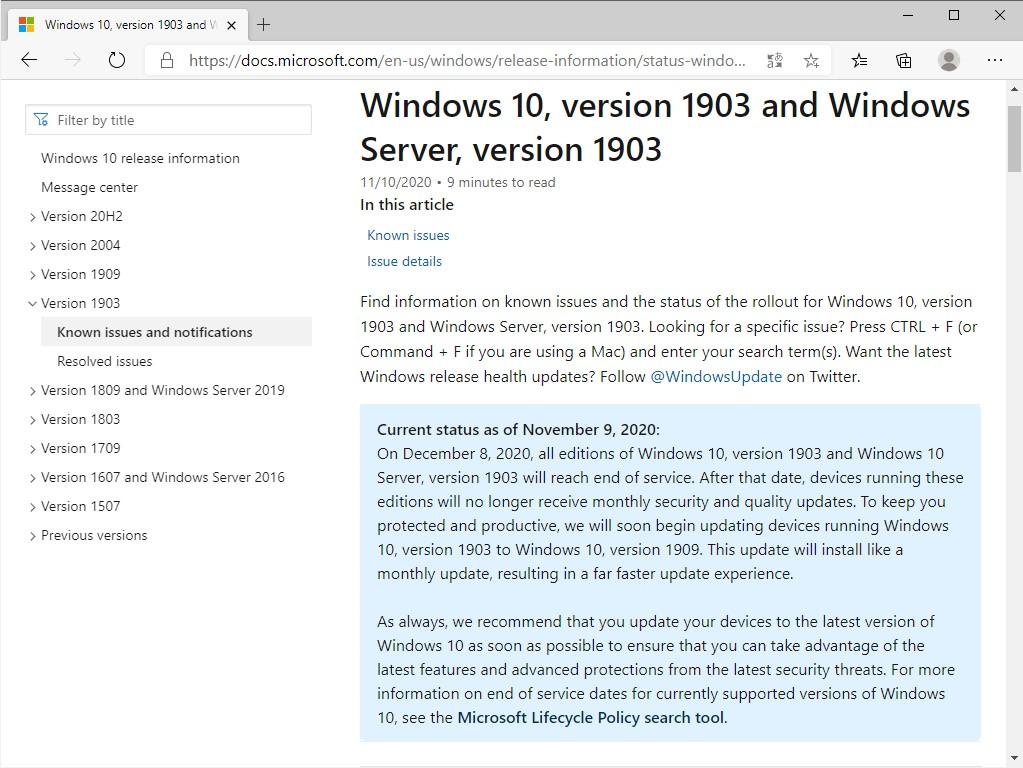 【Windows】来月でサポート終了 〜「May 2019 Update」から「November 2019 Update」への強制更新が開始へ