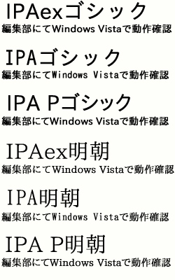 「IPAexフォント」と「IPAフォント」を比較