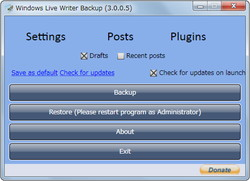 「Windows Live Writer Backup」v3.0.0.5