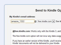 """Device Email""を拡張機能のオプション画面にある""My Kindles email address""欄へ入力。ドメイン部分を""free.kindle.com""へと指定するのを忘れずに"