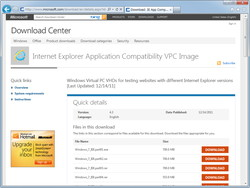 「Internet Explorer Application Compatibility VPC Image」の配布ページ