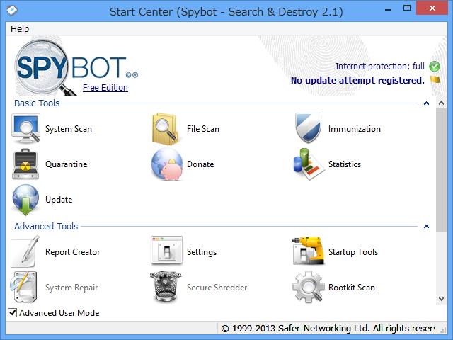 「Spybot - Search & Destroy」v2.1.18.0