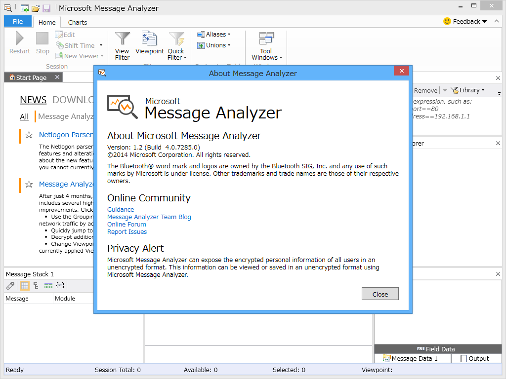 message analyzer windows related keywords