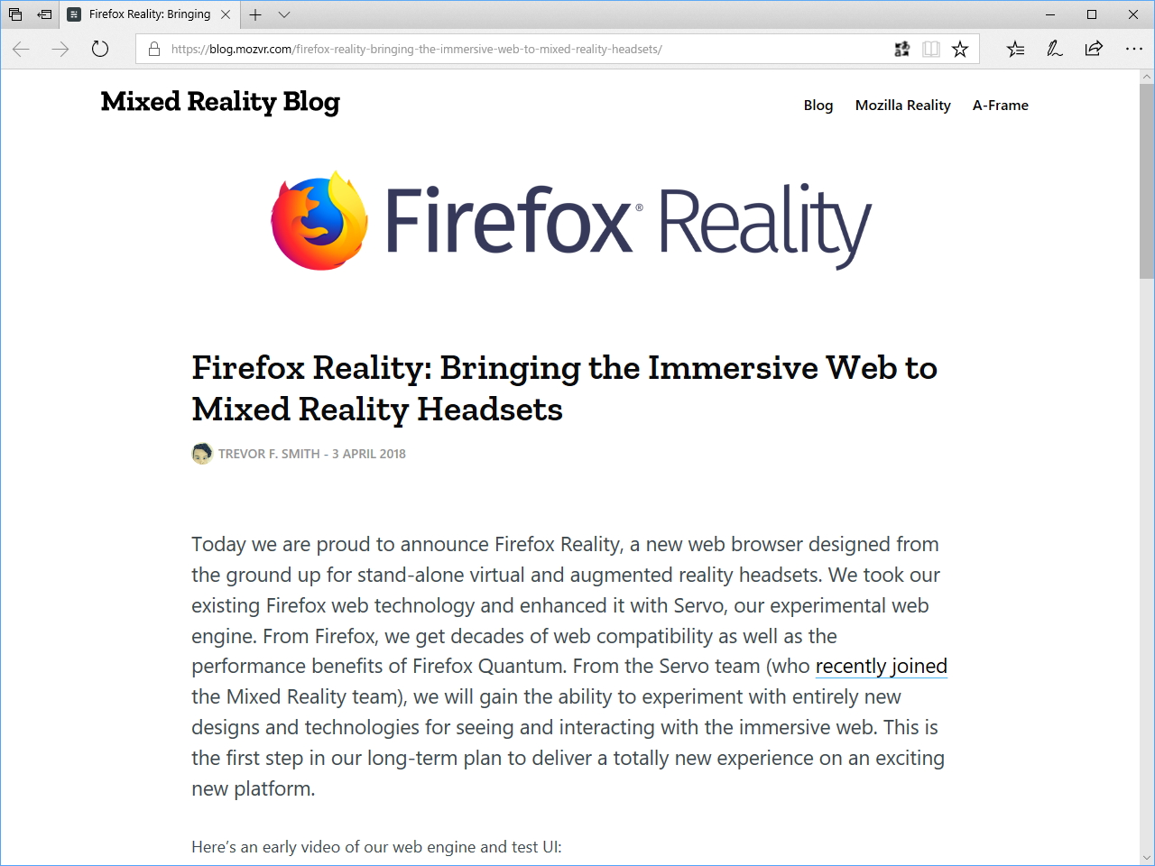 Mozilla、「Firefox Reality」を...
