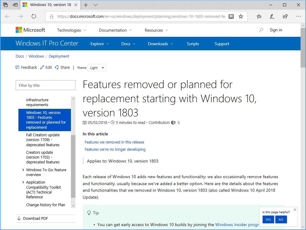 Windows 10 April 2018 Update」リリースの裏でひっそりと役目を