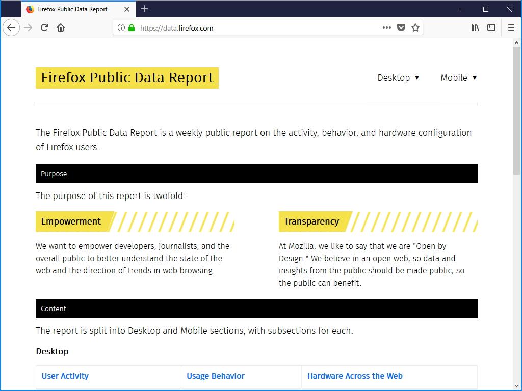 mozilla firefox public data report を公開 firefox で収集した