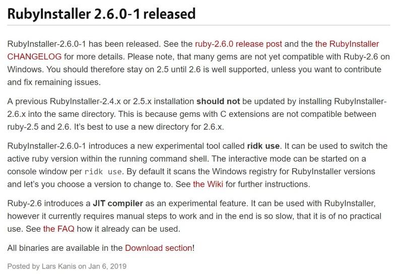 RubyInstaller」v2 6 0-1公開 ほか - ダイジェストニュース - 窓の杜